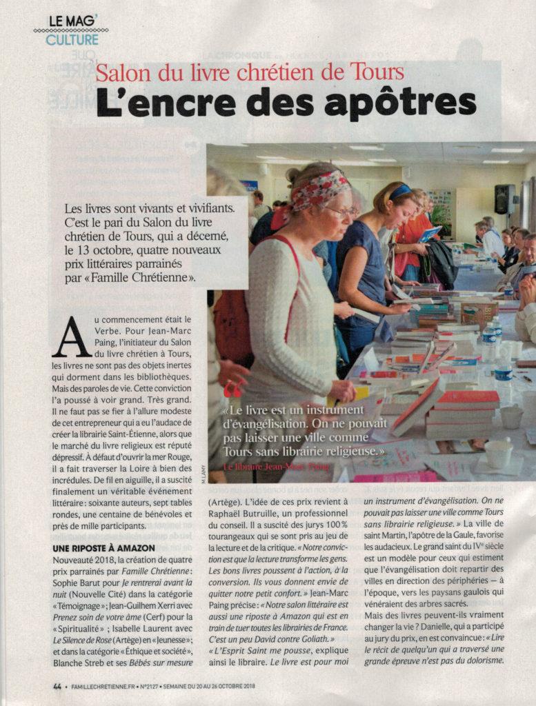 """Article de Famille Chrétienne du 18 oct 2018 sur le salon """"AuTours des Auteurs"""""""